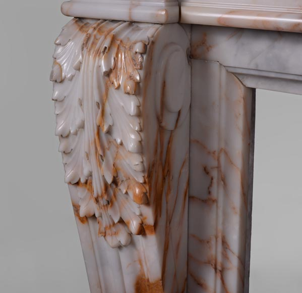 Beautiful antique Louis XVI style mantel in Orange veined marble in Skyros marble-4