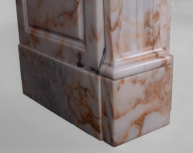 Beautiful antique Louis XVI style mantel in Orange veined marble in Skyros marble-5