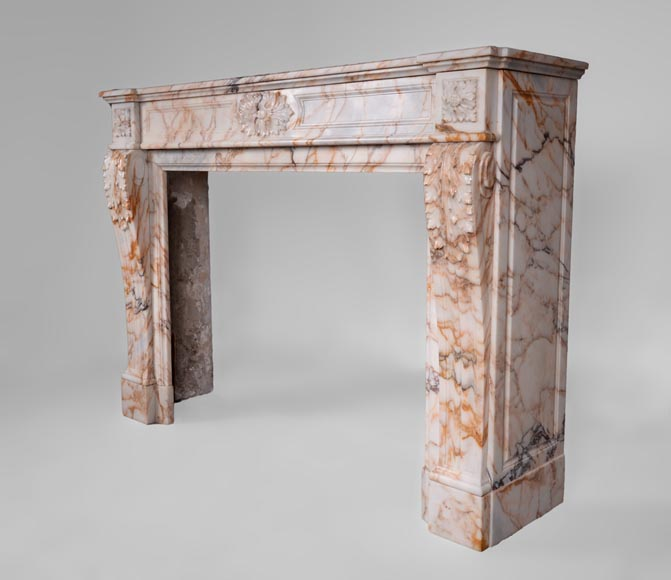 Beautiful antique Louis XVI style mantel in Orange veined marble in Skyros marble-6