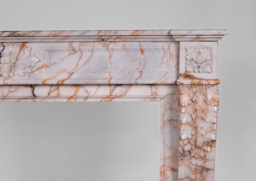 Beautiful antique Louis XVI style mantel in Orange veined marble in Skyros marble-7