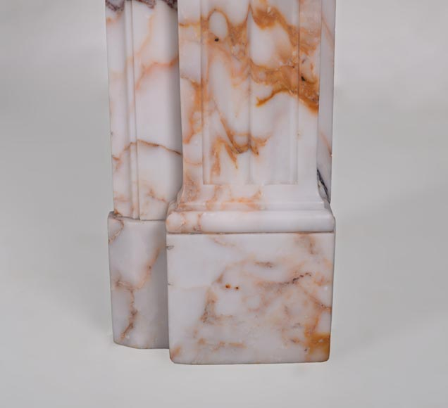 Beautiful antique Louis XVI style mantel in Orange veined marble in Skyros marble-8