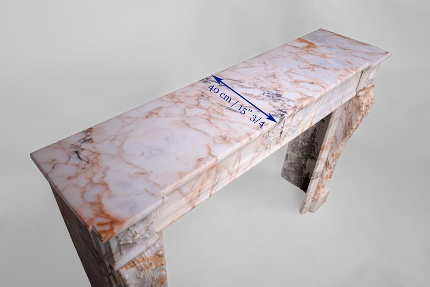 Beautiful antique Louis XVI style mantel in Orange veined marble in Skyros marble-9