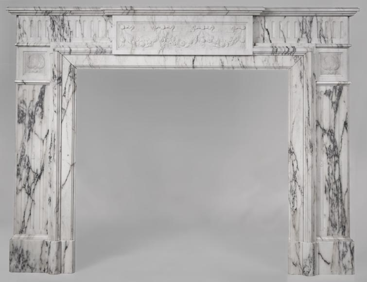 Beautiful Victorian style antique fireplace in Paonazzo marble-0