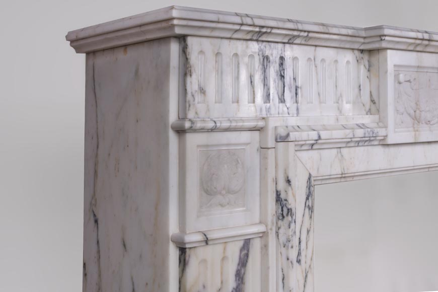Beautiful Victorian style antique fireplace in Paonazzo marble-3