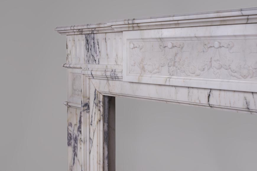 Beautiful Victorian style antique fireplace in Paonazzo marble-5