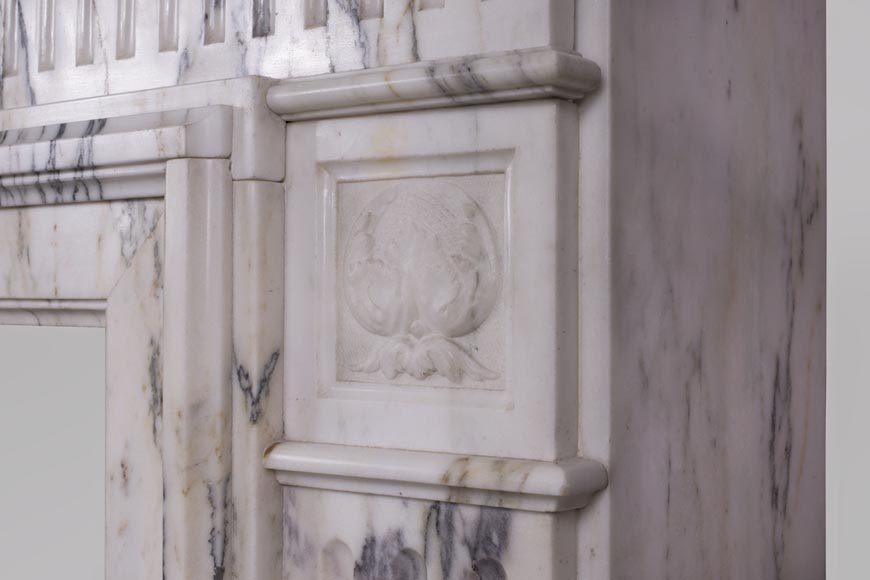 Beautiful Victorian style antique fireplace in Paonazzo marble-9