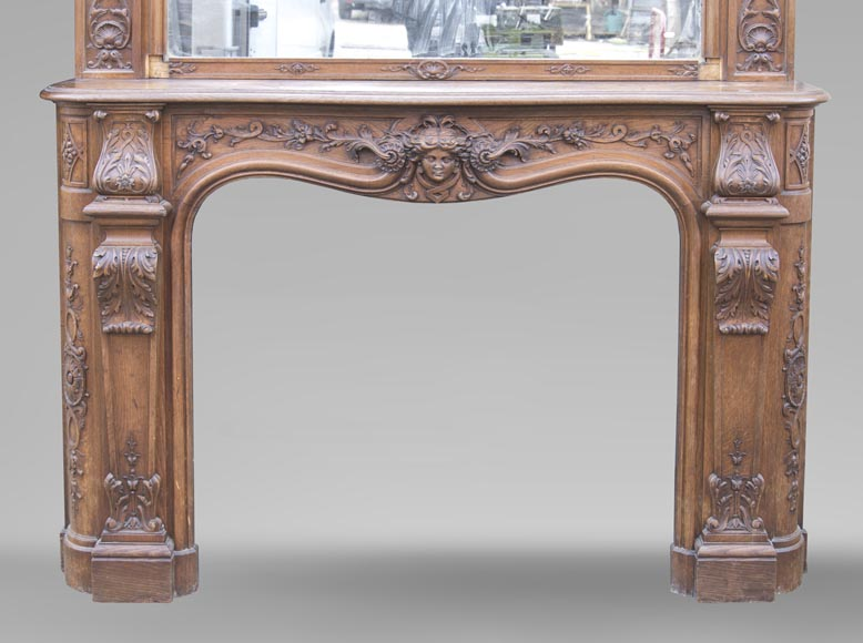 BARDIE - An antique Napoleon III style fireplace with its overmantel-7