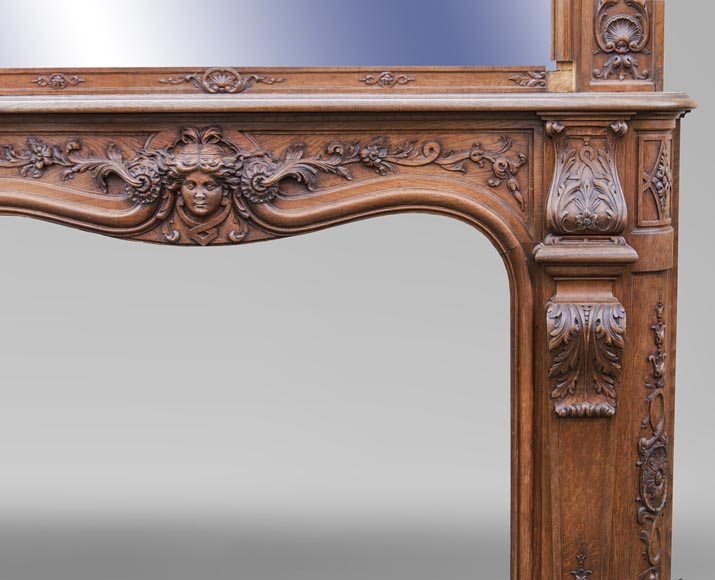 BARDIE - An antique Napoleon III style fireplace with its overmantel-15