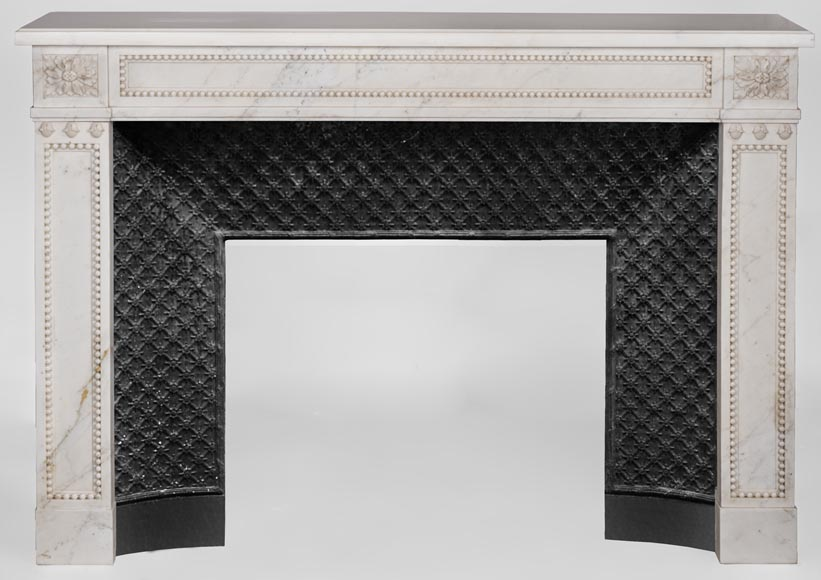 Beautiful antique Louis XVI style fireplace made of Statuary marble with pearls-0