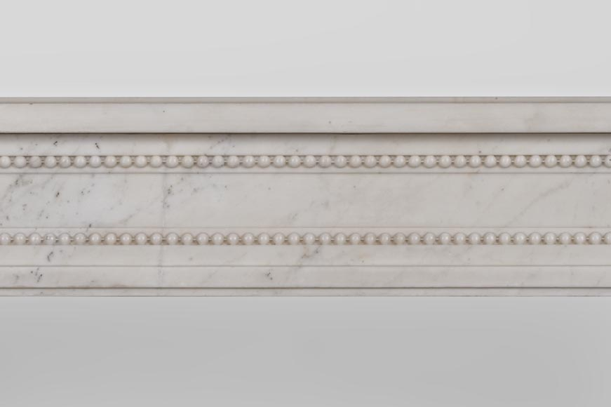 Beautiful antique Louis XVI style fireplace made of Statuary marble with pearls-2