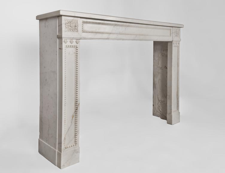 Beautiful antique Louis XVI style fireplace made of Statuary marble with pearls-4