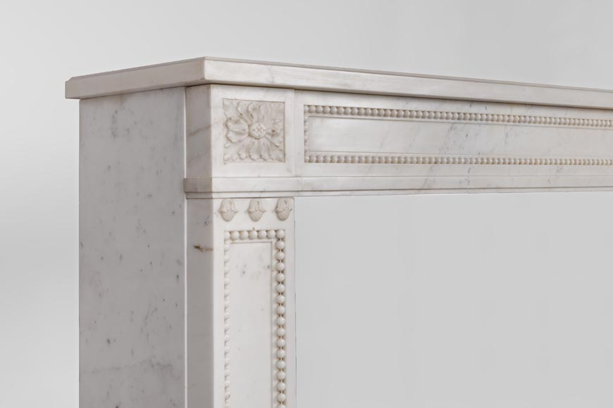 Beautiful antique Louis XVI style fireplace made of Statuary marble with pearls-5