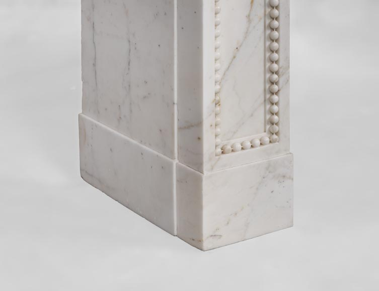 Beautiful antique Louis XVI style fireplace made of Statuary marble with pearls-6