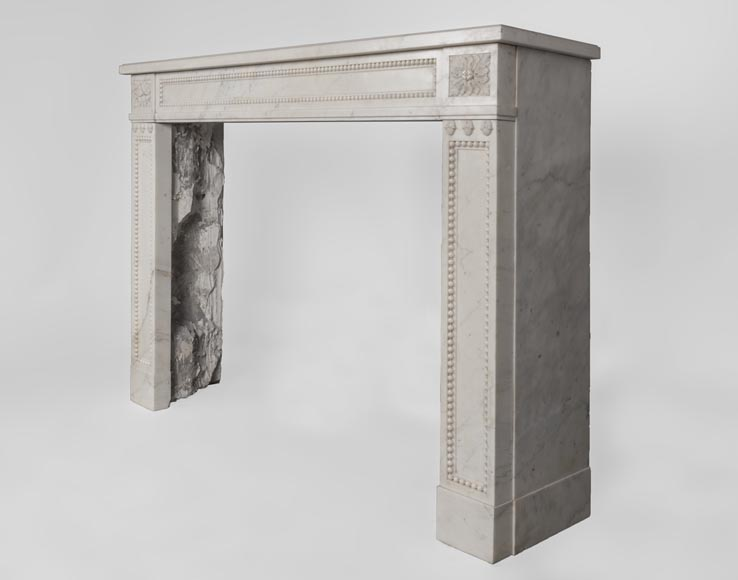 Beautiful antique Louis XVI style fireplace made of Statuary marble with pearls-7