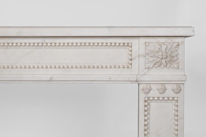 Beautiful antique Louis XVI style fireplace made of Statuary marble with pearls-8