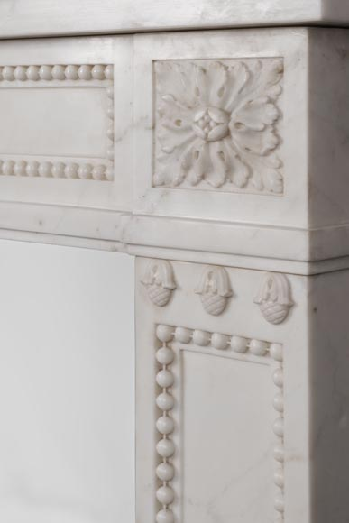 Beautiful antique Louis XVI style fireplace made of Statuary marble with pearls-9