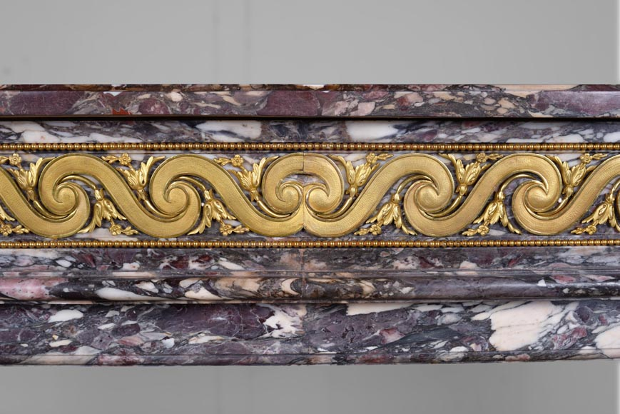 Exceptional Louis XVI style fireplace in Fior di Pesco marble with bronze ornaments-1