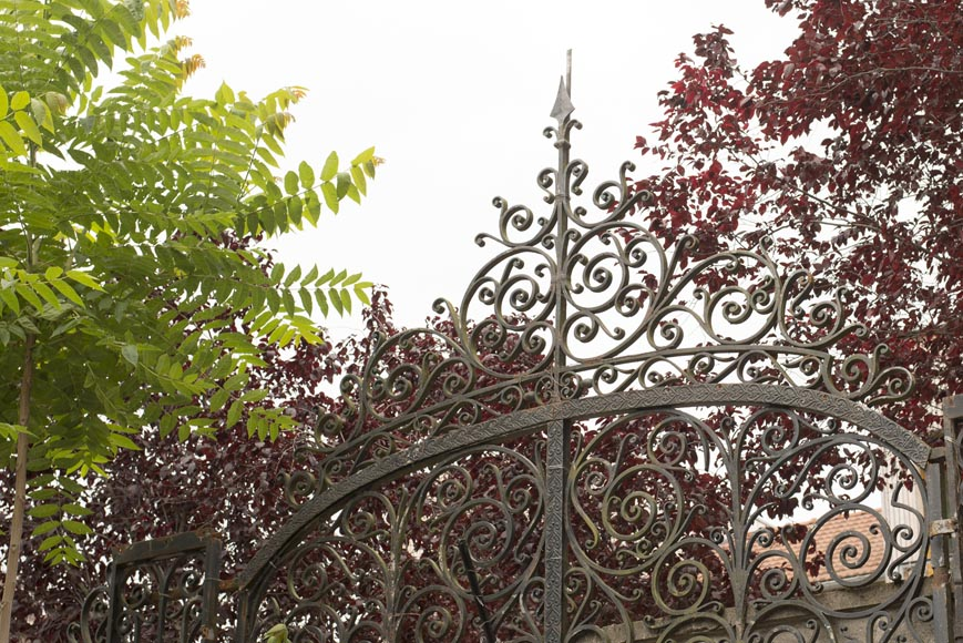 Important ironwork gate adorned with volutes-8