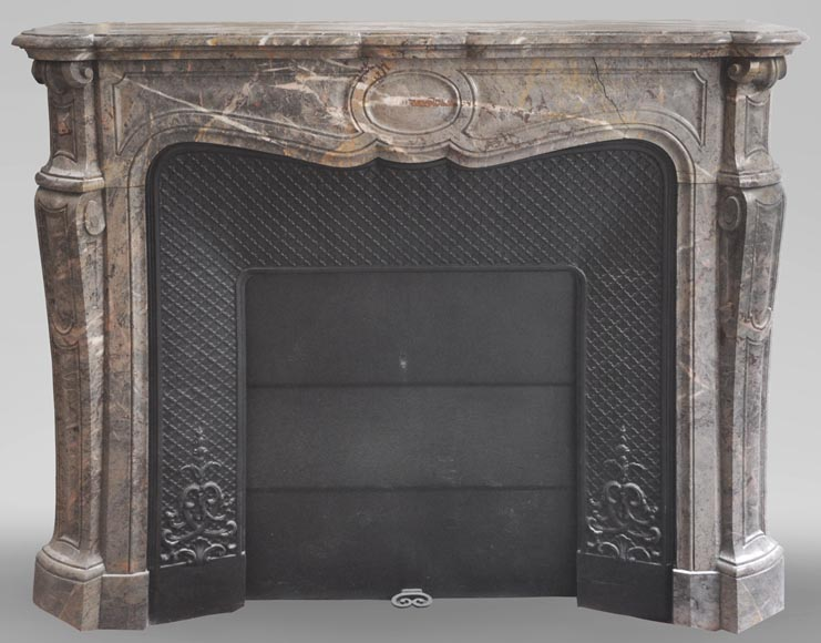 Antique Louis XV style fireplace, Pompadour model, in Enjugerais marble with its original cast iron insert - Reference 3629