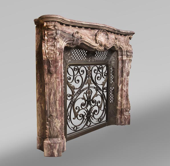 Very beautiful antique Louis XV style opulent fireplace made out of Fleur de Pêcher marble-4