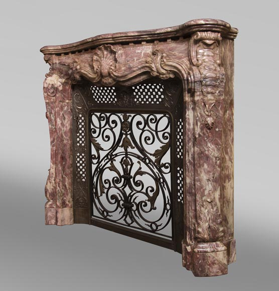Very beautiful antique Louis XV style opulent fireplace made out of Fleur de Pêcher marble-8