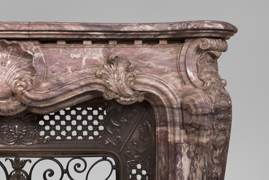 Very beautiful antique Louis XV style opulent fireplace made out of Fleur de Pêcher marble-9