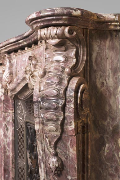 Very beautiful antique Louis XV style opulent fireplace made out of Fleur de Pêcher marble-10