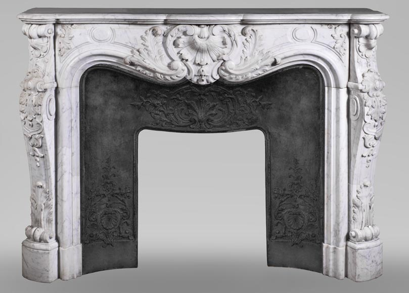 Antique Louis XV style fireplace mantel, made out of richly carved veined Carrara marble-0