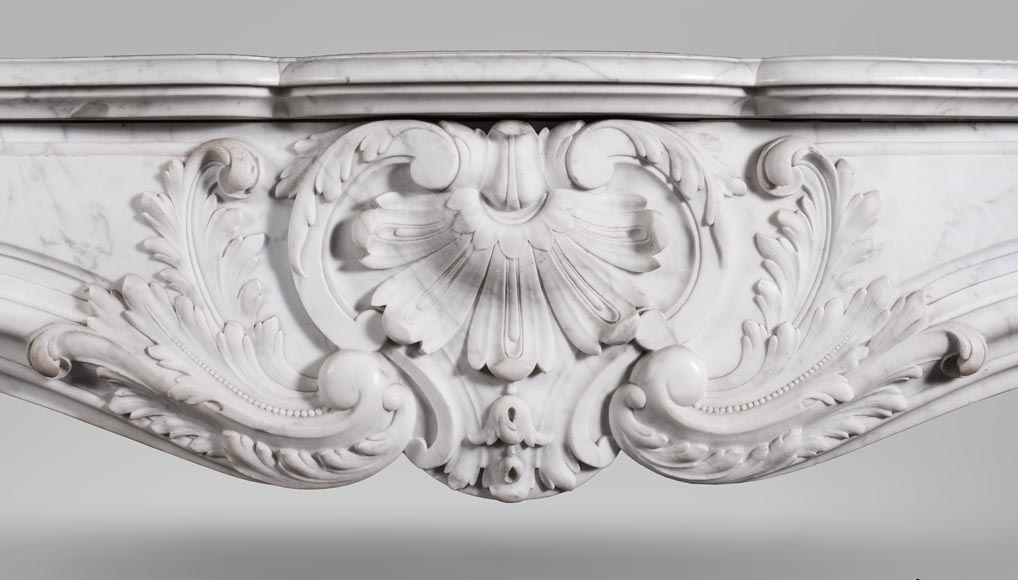 Antique Louis XV style fireplace mantel, made out of richly carved veined Carrara marble-1