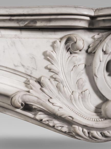 Antique Louis XV style fireplace mantel, made out of richly carved veined Carrara marble-3