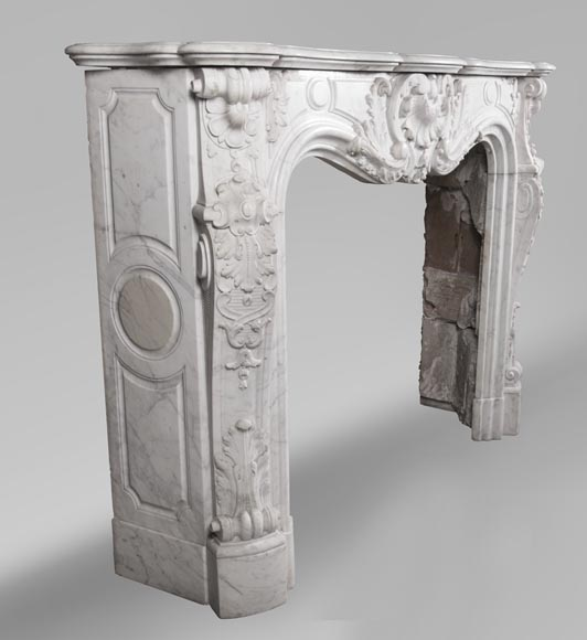 Antique Louis XV style fireplace mantel, made out of richly carved veined Carrara marble-6