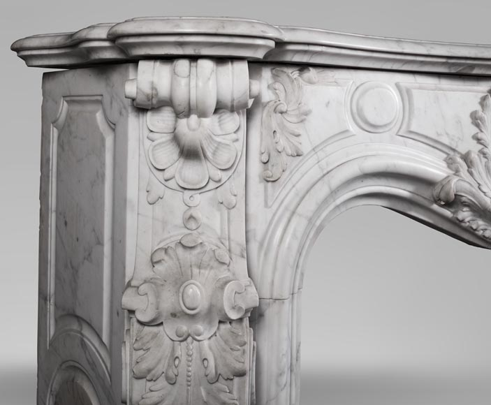 Antique Louis XV style fireplace mantel, made out of richly carved veined Carrara marble-7