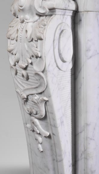 Antique Louis XV style fireplace mantel, made out of richly carved veined Carrara marble-8