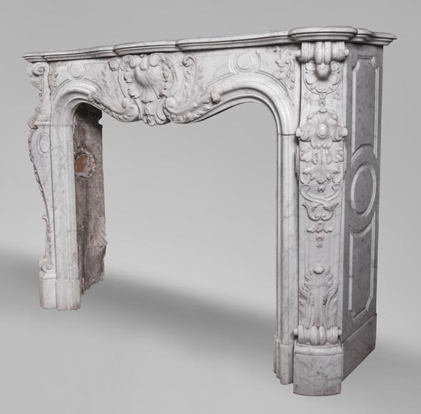 Antique Louis XV style fireplace mantel, made out of richly carved veined Carrara marble-9