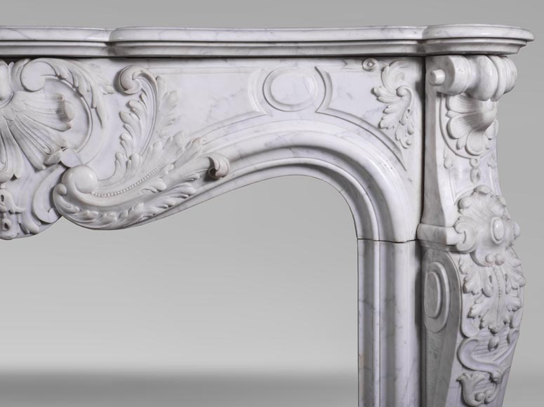 Antique Louis XV style fireplace mantel, made out of richly carved veined Carrara marble-10