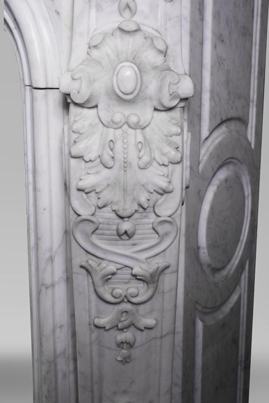 Antique Louis XV style fireplace mantel, made out of richly carved veined Carrara marble-11