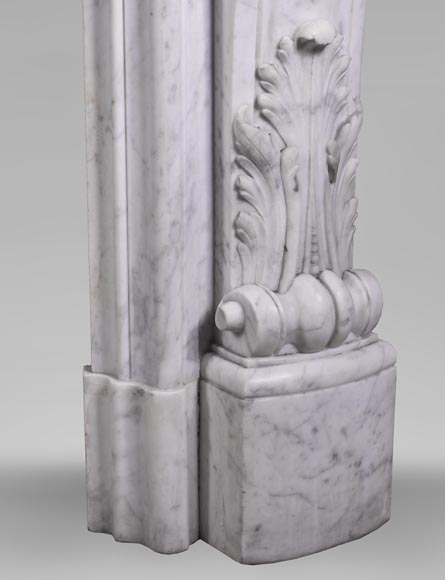 Antique Louis XV style fireplace mantel, made out of richly carved veined Carrara marble-13