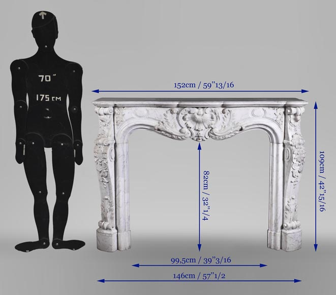 Antique Louis XV style fireplace mantel, made out of richly carved veined Carrara marble-15