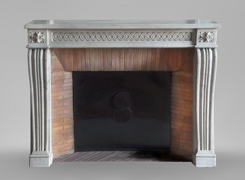 Antique period Louis XVI fireplace in Carrara marble with a Greek frieze-0