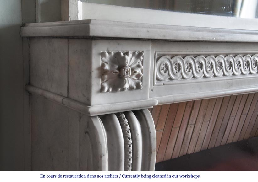 Antique period Louis XVI fireplace in Carrara marble with a Greek frieze-3