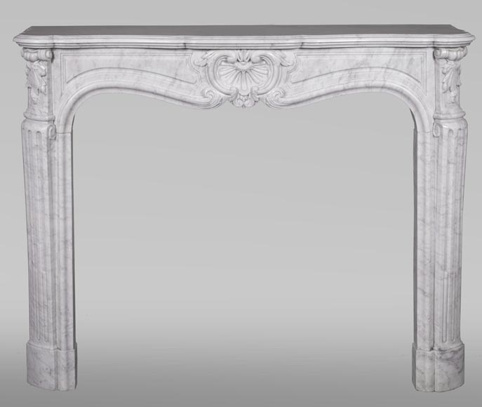 An antique Louis XV style fireplace, made out of Carrara marble-0