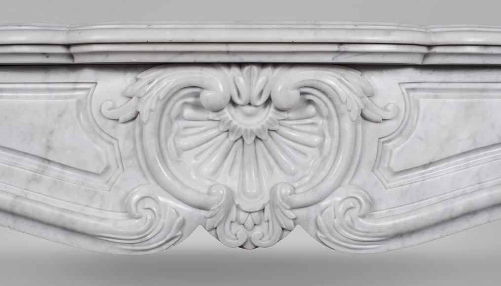 An antique Louis XV style fireplace, made out of Carrara marble-1