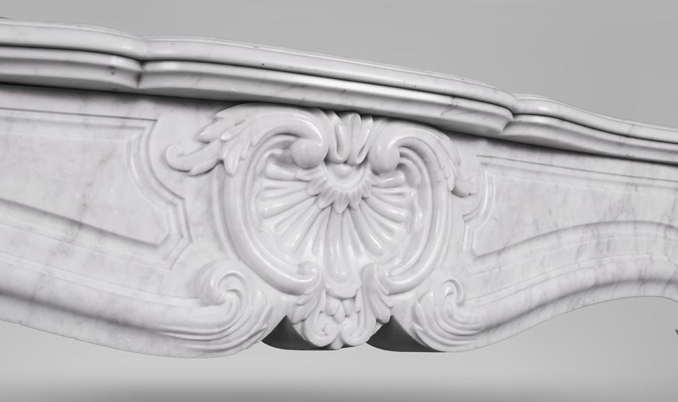 An antique Louis XV style fireplace, made out of Carrara marble-2