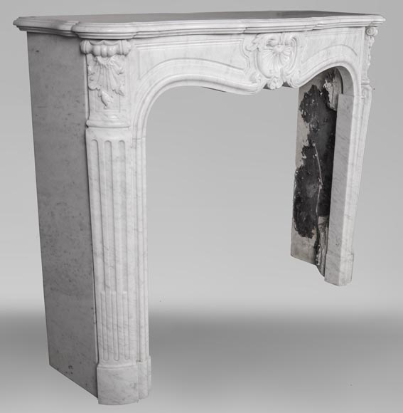 An antique Louis XV style fireplace, made out of Carrara marble-3