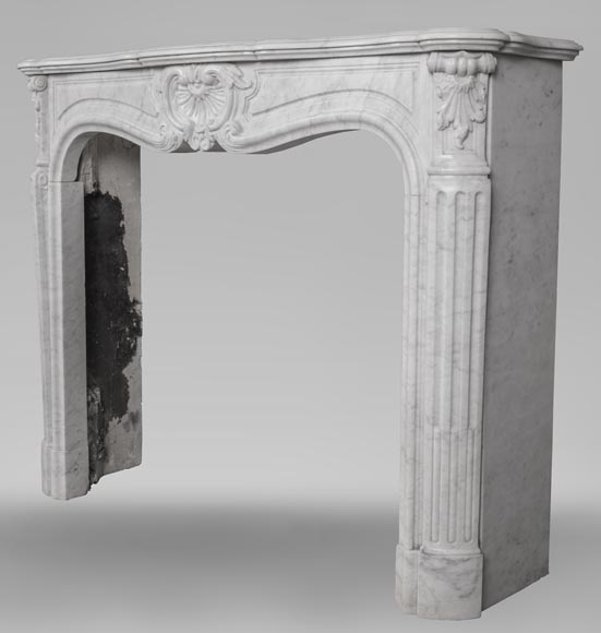 An antique Louis XV style fireplace, made out of Carrara marble-6