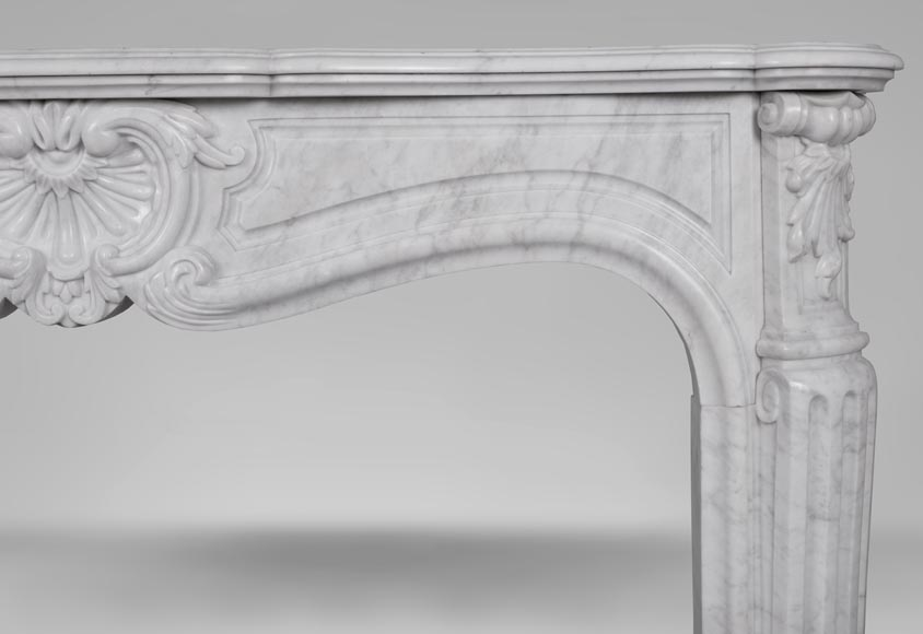 An antique Louis XV style fireplace, made out of Carrara marble-7