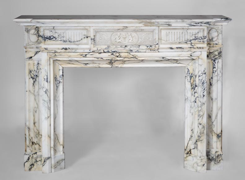 Beautiful antique Napoleon III style fireplace made out of Panazeau marble decorated with putti and pearls - Reference 3640