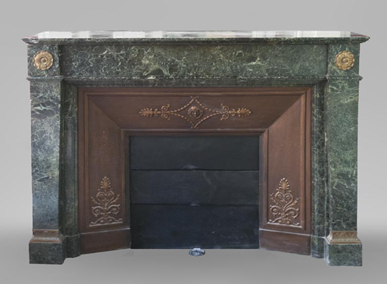 Beautiful antique Empire style fireplace in Sea Green marble decorated with bronze rosettes and a mascaron - Reference 3643