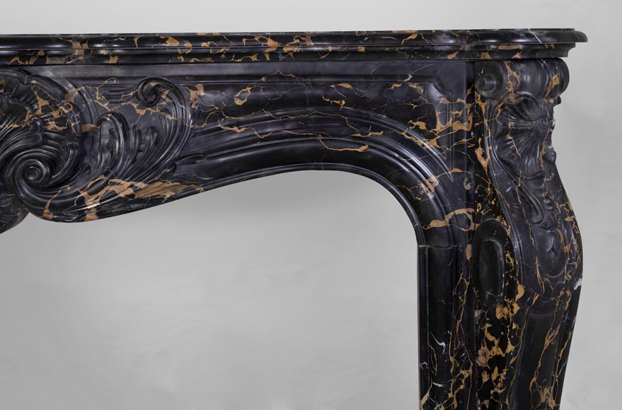Beautiful antique Louis XV style fireplace made out of Portor marble and decorated with shells-10