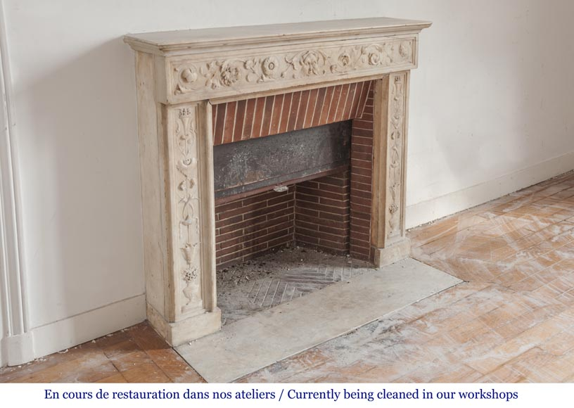 Beautiful Italian Fireplace From The 18th Century Made Out Of Statuary Marble Marble